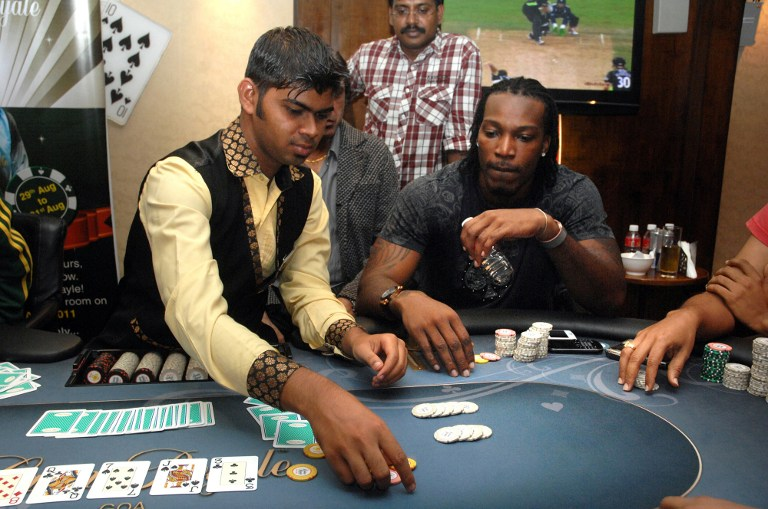 INDIA-CRICKET-GAYLE-POKER
